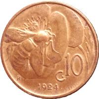 1924 Italian bee coin